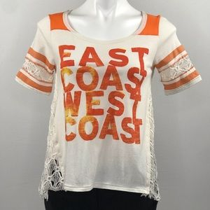 We The Free East Coast West Coast lace design top